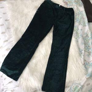 Free People jade green velvet flared pants